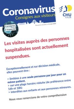 Depuis lundi, les visites sont suspendues ou limitées. © CHU de Lille