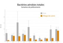 Résultats de l'étude conduite au CHU d'Amiens - Quantité de bactéries sur l'inox et le cuivre, par semaines de prélèvements