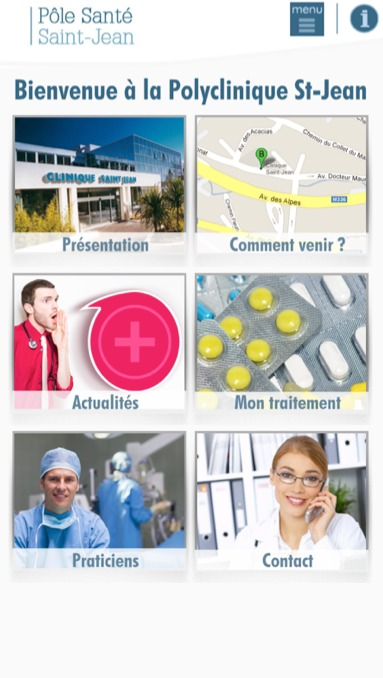 Menu général  écran smartphone de  l'appli mobile  Saint-Jean à usage des patients