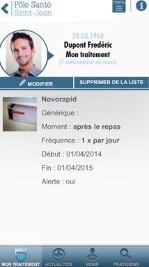 Suivi de traitement par patient du Pôle Santé Saint-Jean via l'appli mobile Saint-Jean