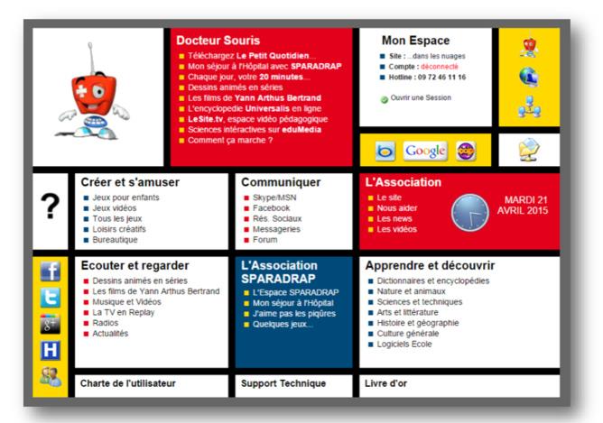 Écran d'accueil du portail présentant les propositions ludoéducatives disponibles sur Docteur Souris.