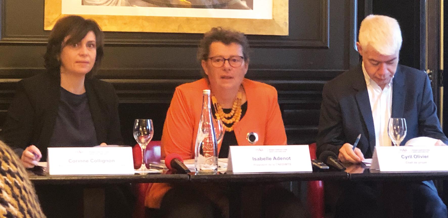 De gauche à droite : Corinne Collignon, Isabelle Adenot et Cyril Olivier
