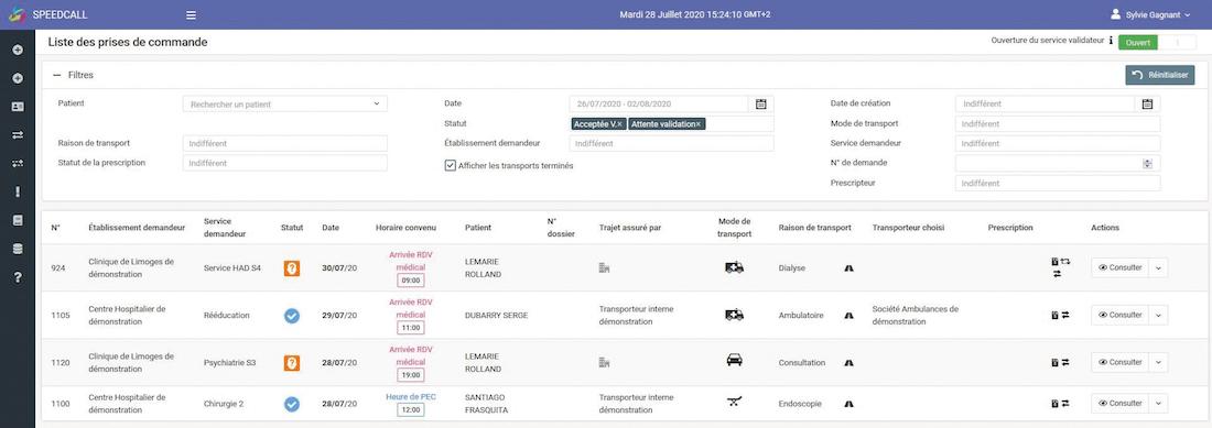 Exemple d'un planning de régulation des missions de la plateforme SpeedCall (Les informations d'ordre privé présentes sur cet exemple de planning sont fictives.)