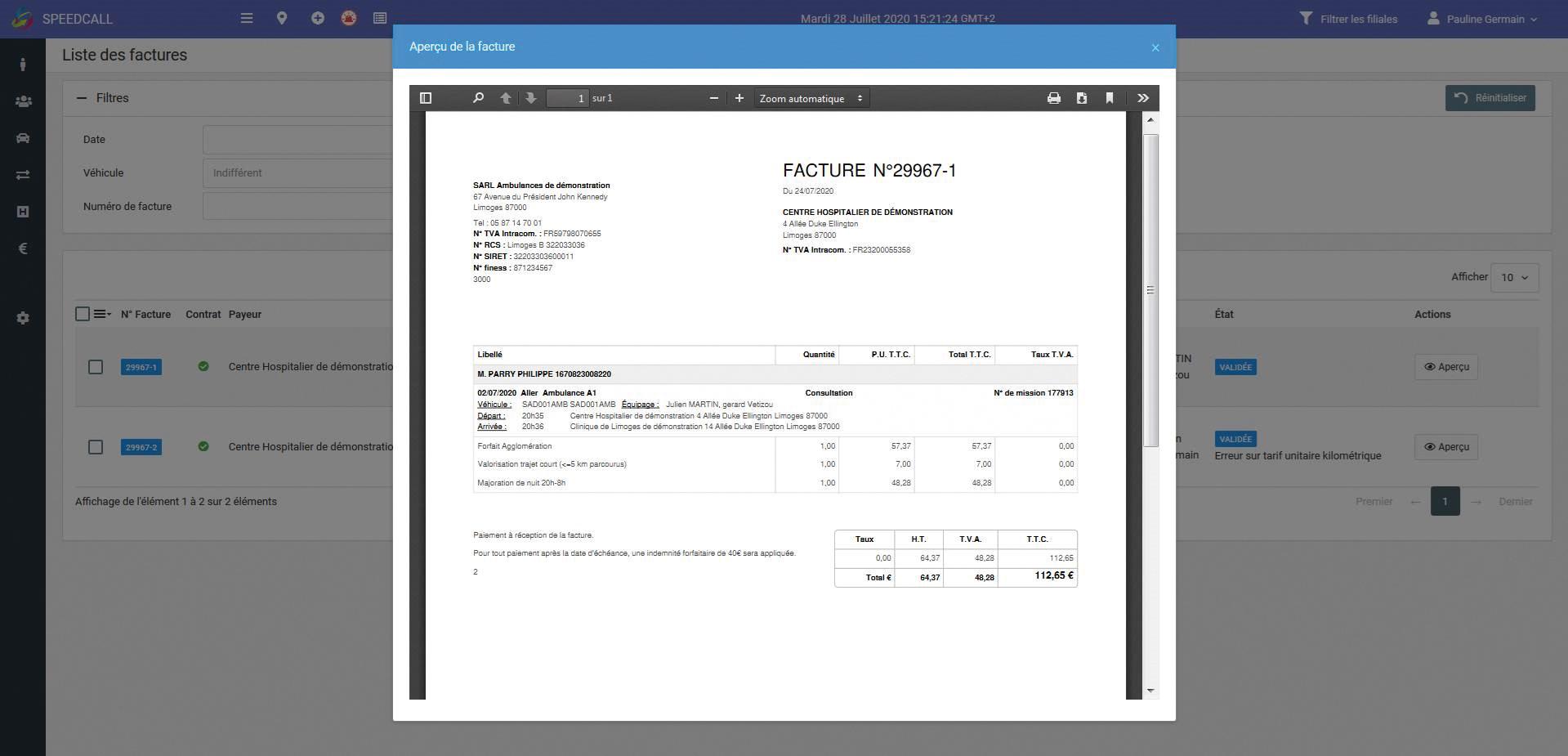 Exemple d'une facture dématérialisée de la plateforme SpeedCall (Les informations d'ordre privé présentes sur cette facture sont fictives.)