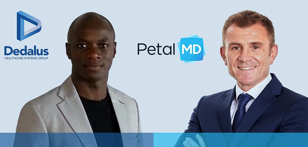 De gauche à droite Ibrahima SIDIBE, Directeur Stratégie Solutions et Innovations pour Dedalus, Jasmin MULALIC, Vice-Président Europe de PetalMD.