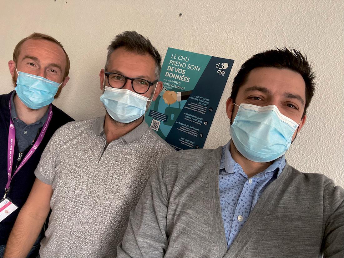 L'équipe du GHT Lille Métropole Flandre Intérieure. Anthony Bouzidi, DPO adjoint, Guillaume Deraedt, DPO et Thomas Aubin, RSSI. ©DR