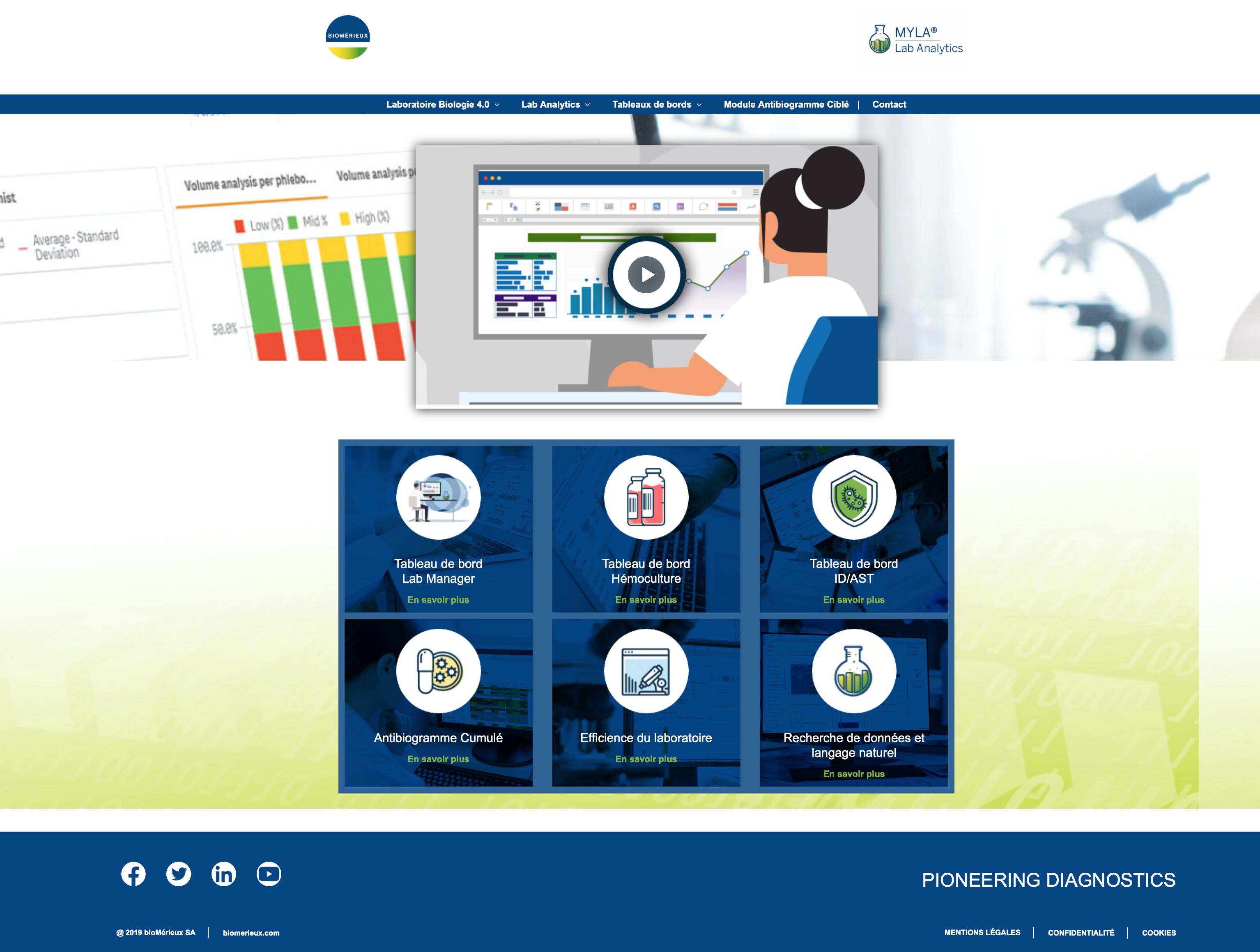 Le site web https://labanalytics.biomerieux.fr est entièrement dédié au module intelligent MYLA® Lab Analytics. ©Capture