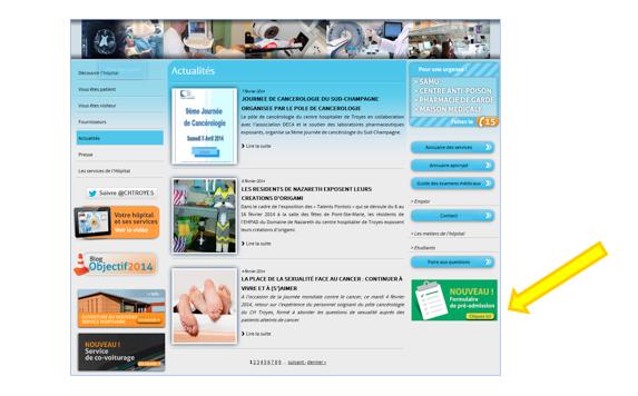 Les pré-admissions au CH de Troyes se font désormais également en ligne