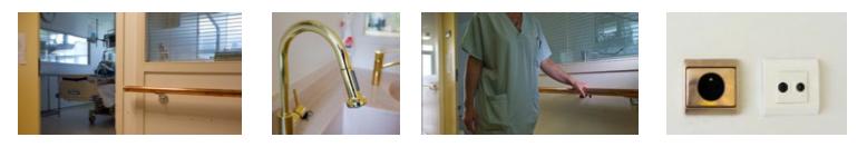 Equipements en cuivre Antimicrobial Copper du service de réanimation de l'hôpital de Rambouillet. Les éléments choisis sont les surfaces les plus touchées par les patients et le personnel hospitalier et constituent des vecteurs de propagation des bactéries au sein des hôpitaux.