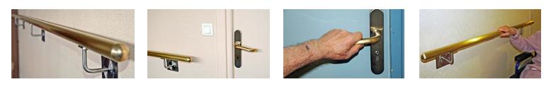 Poignées de porte et rampes dans un nouvel alliage de cuivre Steriall labellisé Antimicrobial Copper installées dans l'EHPAD Wilson du CHU de Reims, le premier équipé parmi les cinq EHPAD de Champagne-Ardenne participant à l'expérimentation sur l'efficacité du cuivre contre les bactéries.
